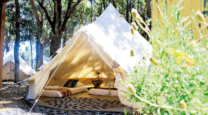 Luxury wide open glamping tent